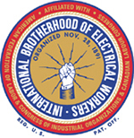 International Brotherhood of Electricians logo, an organization for union electricians