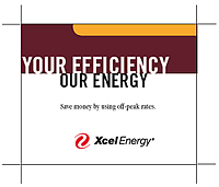 Xcel Energy logo and tagline: Your Efficiency, Our Energy